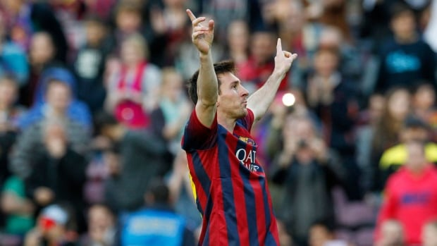 Barcelona's Lionel Messi celebrates his 370th goal for FC Barcelona on Sunday, becoming the most prolific striker of the club.
