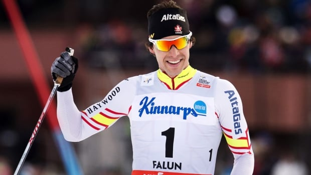 Canada's Alex Harvey reacts after crossing the finish line of the FIS Cross-Country World Cup men's 15 km pursuit in Falun, Sweden on Sunday.