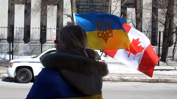 A protester takes part in a mock referendum to draw attention to the Crimean referendum last month outside the Russian Embassy in Ottawa. Canada has ordered a Russian military attache with the embassy to leave the country.