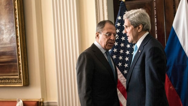 U.S. Secretary of State John Kerry, right, is to meet with Russian Foreign Minister Sergei Lavrov, left, Sunday evening at the Russian ambassador's residence in Paris to discuss the crisis in Ukraine. Lavrov earlier said Russia has 'no intention' of invading Ukraine.