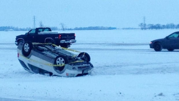 A vehicle was rolled over on Highway 7 at the Perimeter Highway on Monday morning.