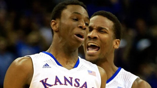 Canadian Andrew Wiggins, front, and teammate Wayne Selden will lead the Kansas Jayhawks into the NCAA tournament.
