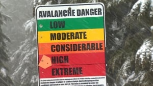 Avalanches in B.C. mountains and Alberta Rockies - stock sign - avalanche hazard high extreme