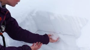 Avalanches in B.C. mountains and Alberta Rockies - stock - slab test