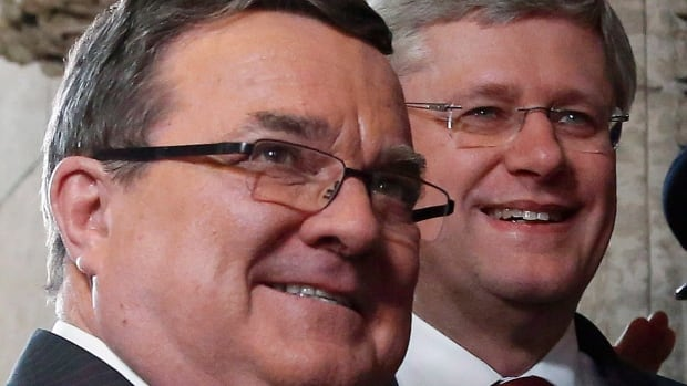 Prime Minister Stephen Harper, right, praised Finance Minister Jim Flaherty's 'steady hand' on the economic tiller during the economic crisis, as did many in the business community, who said it helped bring Canada out of the crisis relatively  unscathed. Flaherty, left, announced he was resigning Tuesday after eight years as finance minister