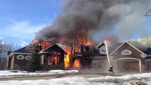 Fire crews responded Tuesday afternoon to a fire at a home in Bearspaw, which is located just west of Calgary.