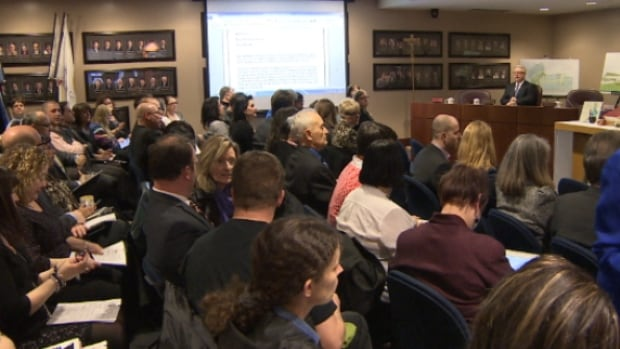 Catholic board trustees discussed the school closures in front of a packed house on Tuesday