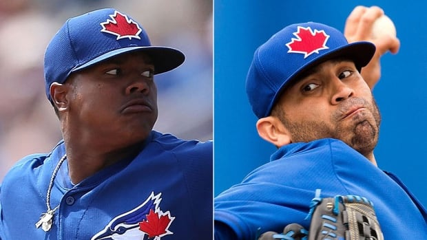 Pitchers Marcus Stroman, left, and Ricky Romero were sent to Blue Jays' minor league camp on Wednesday. They are expected to start the season with the triple-A Buffalo Bisons.