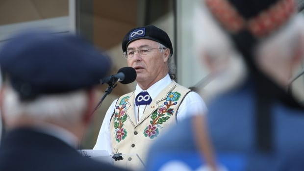 Clement Chartier, president of the Métis National Council, is seen at a ceremony to honour Métis veterans in November 2009. Bitter infighting has erupted between Chartier and four heads of provincial Métis organizations.