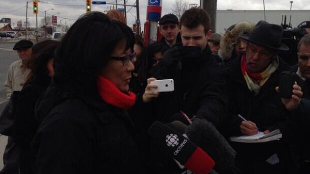 Chow used a bus stop at Jane and Wilson to announce a part of her transit plan.