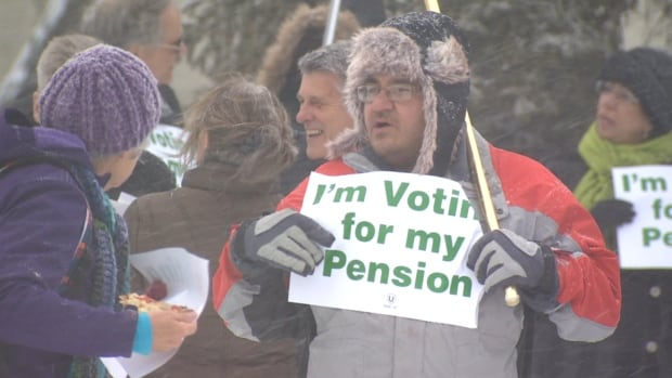 Public sector employees held rallies last month against planned changes to their pension plans.