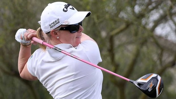 Morgan Pressel hits a tee shot on the fifth hole during the first round of the JTBC LPGA Founders Cup at Wildfire Golf Club on Thursday in Phoenix, Az.