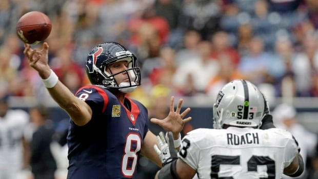 Matt Schaub throws for Houston against the Oakland Raiders in a 2013 game.
