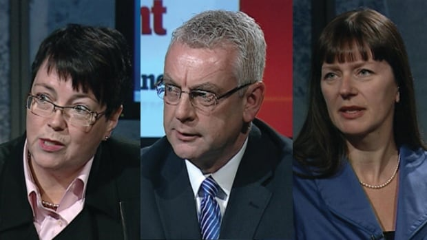 Liberal Cathy Bennett, Tory Danny Breen and New Democrat Sheilagh O'Leary are competing in the April 9 byelection.
