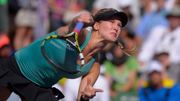 Eugenie Bouchard, of Canada, seen in a match earlier this year, has endured struggles since reaching the Australian Open semifinals.