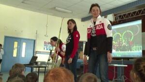 Olympic athletes skis
