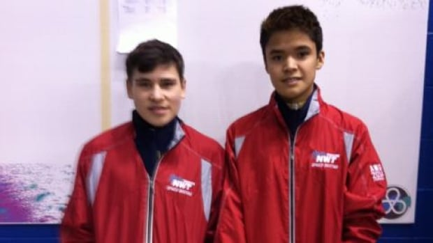 Jackson Christie, 14, and Alex Robertson, 17, are two of the N.W.T. speedskaters dedicating their performances at the Arctic Winter Games to to their late coach, Doug McLeod.