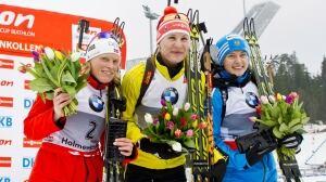 Anastasiya Kuzmina, Slovakia, centre, won the Women's 10km WC-biathlon pursuit race in the Holmenkollen Ski Arena in Oslo Saturday.