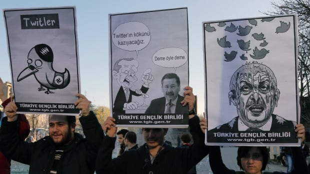 Members of the Turkish Youth Union hold cartoons depicting Turkey's Prime Minister Recep Tayyip Erdogan during a protest against a ban on Twitter, in Ankara, Turkey, on Friday.