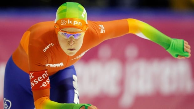 Ireen Wust of Netherlands competes on her way to winning the 3000-metre ladies race at the Essent ISU World Allround Speed Skating Championships at the Thialf Stadium on Saturday in Heerenveen, Netherlands.