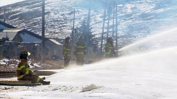 Edmonton firefighters braved frigid temperatures to battle a fire at Lonestar Lumber, a pallet-fabricating company.