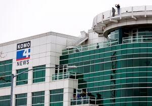 News Chopper Crash - investigators at KOMO building