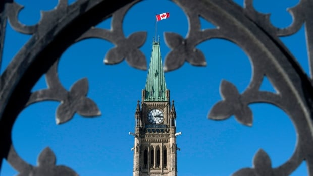 Centre Block's Peace Tower is shown through the gates of Parliament Hill.