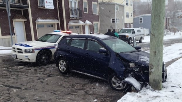Snow and slippery conditions contributed to this accident on Carter's Hill in downtown St. John's on Monday.