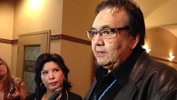 Manitoba Aboriginal and Norther Affairs Minister Eric Robinson and co-chair of '60s scoop round table Coleen Rajotte