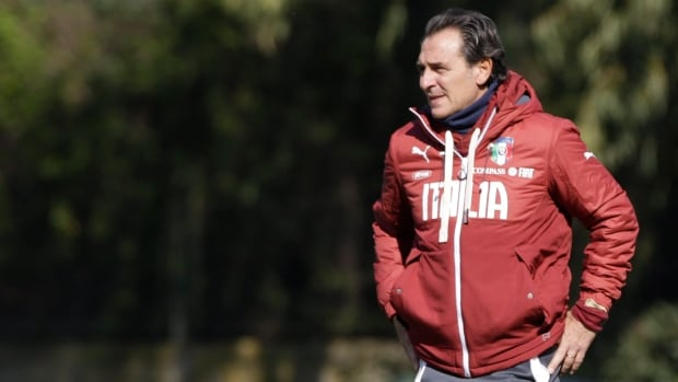Italy team coach Cesare Prandelli watches during a training session in Rome on March 12.