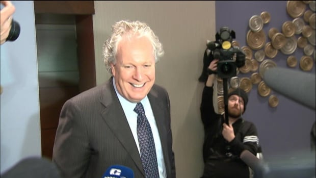 Quebec's former premier Jean Charest was supposed to speak to reporters after a speech in Montreal, but cancelled at the last minute.