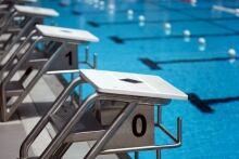 Swimming blocks swimming pool stock image