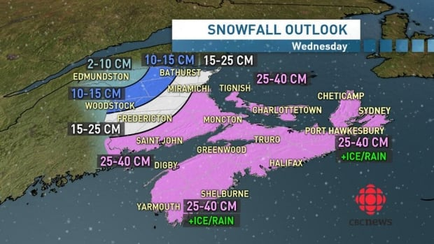 The Maritimes are bracing for a winter wallop on Wednesday.