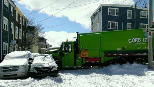 A garbage truck lost control while trying to get down a hill in St. John's on Tuesday. The truck hit several parked vehicles, blocking traffic on Bond Street at the bottom of Chapel Street.