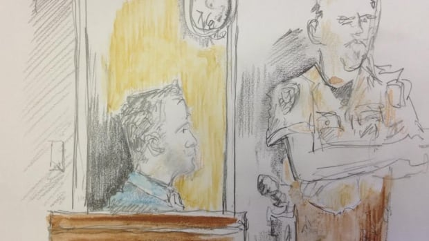 A courtroom sketch shows defendant Mathew Foerster, 28, seated in court on March 24, 2014. Foerster is on trial for first degree murder in the death of Taylor Van Diest in Armstrong, B.C., in 2011.