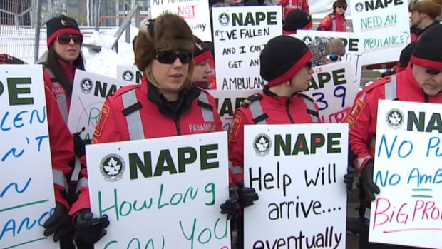 Almost 40 paramedics gathered outside Confederation Building in St. John's on Tuesday to protest the increasing number of red alerts on the northeast Avalon.