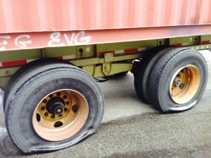 Vandalized semi truck  container trailers