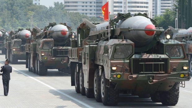 North Korea launched two mid-range Rodong, like the ones pictured here during a Pyongyang parade, off its east coast on Wednesday.