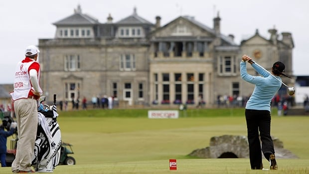 This is a Sunday, Aug. 5, 2007 file photo of tournament winner and world number one Mexico's Lorena Ochoa as she tees off from the 18th with the St Andrews clubhouse in the background, during the Women's British Open golf tournament on the Old Course at the Royal and Ancient Golf Club in St Andrews, Scotland.