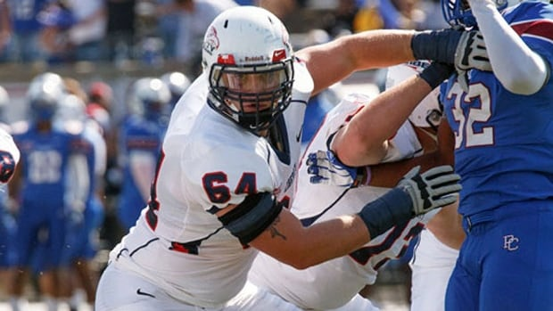 Offensive lineman Hunter Steward was the starting left tackle at Liberty University in Lynchburg, Va., the past two seasons after spending his first year as a reserve on the school's defensive line. He has signed a contract with the B.C. Lions, who drafted him sixth overall last summer.