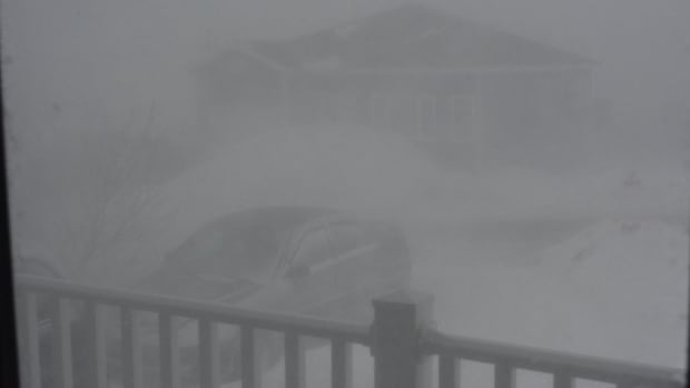 This was the scene from Veronica Harvey's front porch in Port aux Basques around 4 p.m. on Wednesday as the storm rolled into southwestern Newfoundland.
