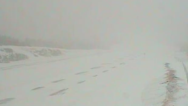 A large section of the Trans-Canada Highway has been closed due to whiteout conditions. This image of the Cobequid Pass was taken with a webcam at 5:49 p.m. on Wednesday.