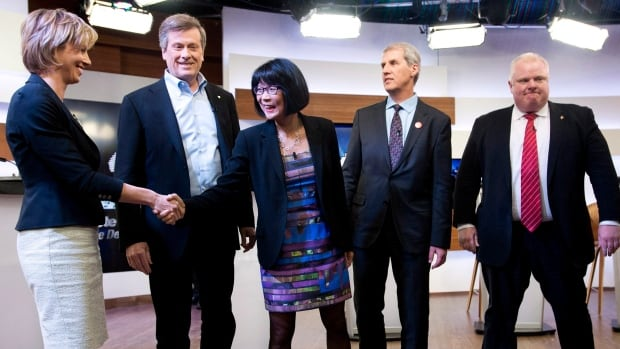 Karen Stintz, (left to right) John Tory, Olivia Chow, David Soknacki and Rob Ford shake hands before the first Toronto mayoral debate on Wednesday.