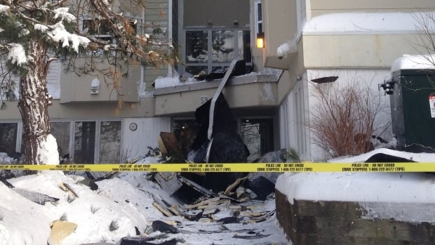 The front entrance of this apartment building in Fairview collapsed during the blizzard.