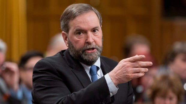 NDP leader Tom Mulcair rises during Question Period in the House of Commons Monday March 24, 2014 in Ottawa.