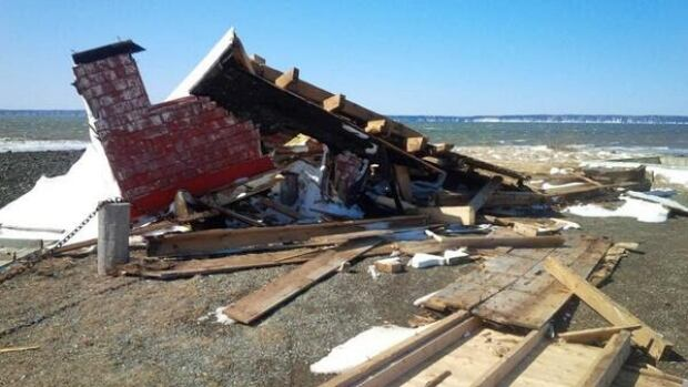 Locals say the iconic Church Point Lighthouse was destroyed by wind during Wednesday night's spring blizzard.