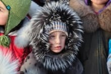 Five year old Igimaq Williamson Bathory in his seal skin jacket