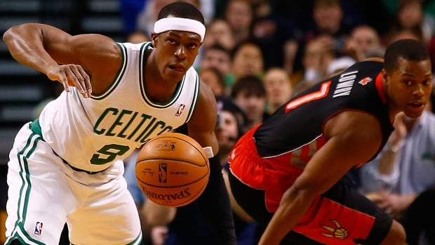Rajon Rondo (9) of the Celtics steals the ball from Kyle Lowry in Wednesday's game at TD Garden, won 99-90 by the Raptors.