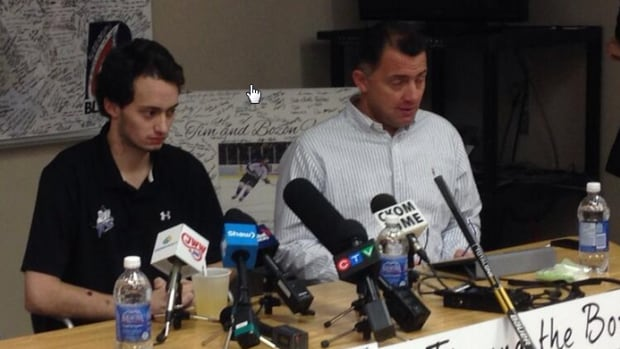 Tim Bozon and his father spoke to media at the Royal University Hospital this morning in Saskatoon.