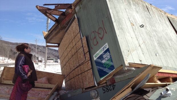 Rachel Gould's store in Eskasoni was blown of its foundation during this week's storm and turned upside down.
